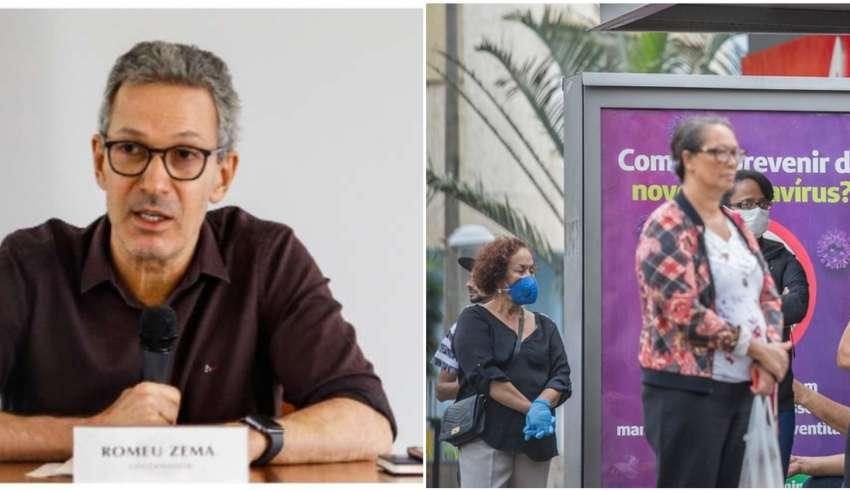 Zema não quis alimentar esperanças de que o fim das medidas de isolamento social esteja próximo (Pedro Gontijo/Imprensa MG + Amanda Dias/BHAZ)