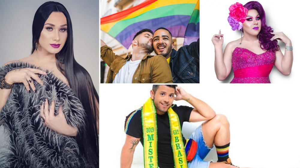 Fotos: 1. Antonia Gutierrez (Miss Brasil Gay 2019) 2. Casal Marco Antônio e Vinicius (Juiz de Fora) 3. Kitana McNew, a primeira Drag queen surda coroada como Miss Brasil Gay Plus Size 2015. 4. Mineiro e Mister Brasil Gay. Fotos: Divulgação
